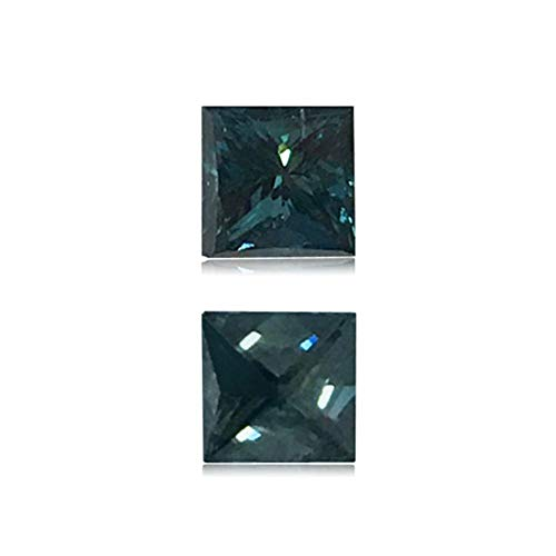 (Mysticdrop 0.47 Cts of 4.2x4.3x3.2 mm SI2 Princess Cut Teal Blue Diamond (1 pc) Loose Color Diamond)