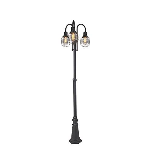 QAZQA Landhaus/Vintage / Rustikal Außenleuchte im Landhausstil schwarz 3-flammig - Guardado/Außenbeleuchtung Aluminium/Glas Andere LED geeignet E27 Max. 3 x 60 Watt