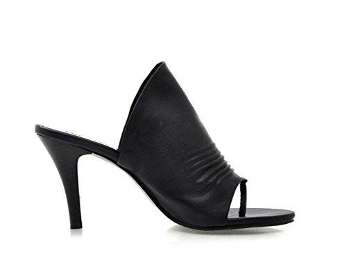 Toe 34 Shopping Noir Talons à xie Flip pour réunion Travail 41 8cm Femmes Pantoufles Hauts Sandales 4T8w8aqU