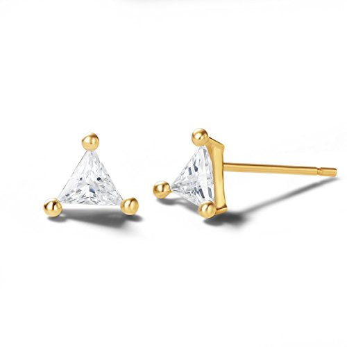 Carleen 14K Solid Gold Dainty Tiny Statement Solitaire CZ Cubic Zirconia Ball Triangle Earrings Delicate Fine Jewelry Stud Earrings for Women Girls
