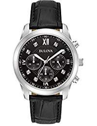(Bulova Men's Chronograph Diamond Accent Black Leather Strap)