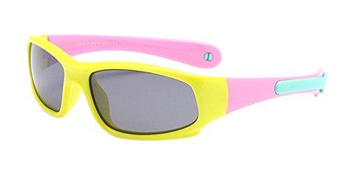 BOZEVON Lunettes de Soleil Polarisées pour Enfants Garçons Filles Monture en caoutchouc flexible Sport Lunettes Jaune/Rose