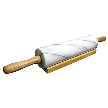 Cook N Home Marble Rolling Pin with Wood Base, 18 , White
