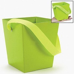 LIME GREEN CARDBOARD BUCKET WITH HANDLE  by Fun Express