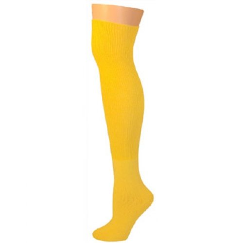 AJs Thick Solid Knee High Tube Socks - Lemon Yellow]()