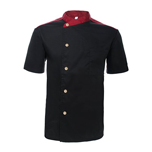 TOPTIE Unisex Short Sleeve Chef Coat Jacket, Black Snap