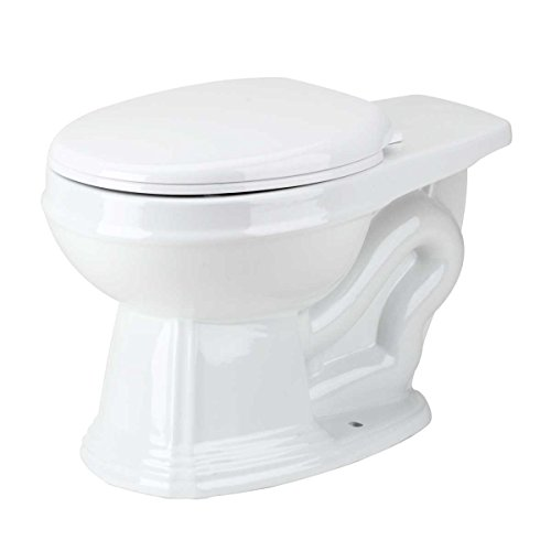 Renovator's Supply Rear Entry Round White Toilet Bowl For High Tank Pull Chain -