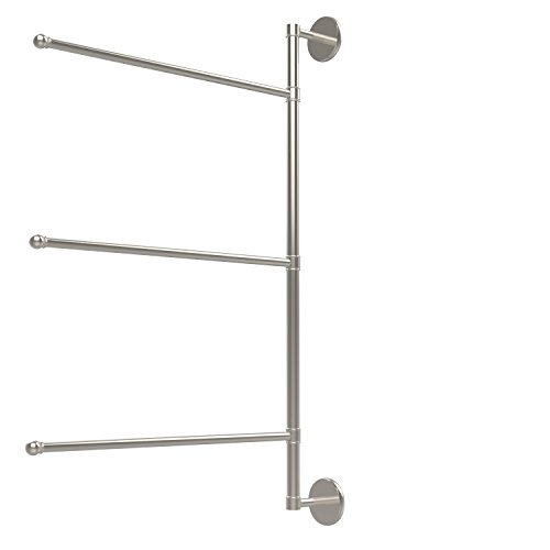 (Allied Brass P1027/3/16/28-PNI Prestige Skyline Collection 3 Swing Arm Vertical 28 Inch Towel Bar 28