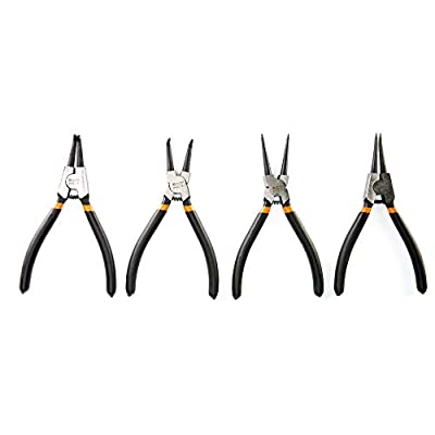 KOTTO 4 Pack Set 7 Inches Snap Ring Pliers Set Heavy Duty Internal/External Circlip Pliers Kit with Straight/Bent Jaw for Ring Remover Retaining and Remove Hoses with Storage Bag