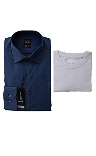 OLYMP Hemd, Blau, Body Fit Level Five, inklusive T-Shirt