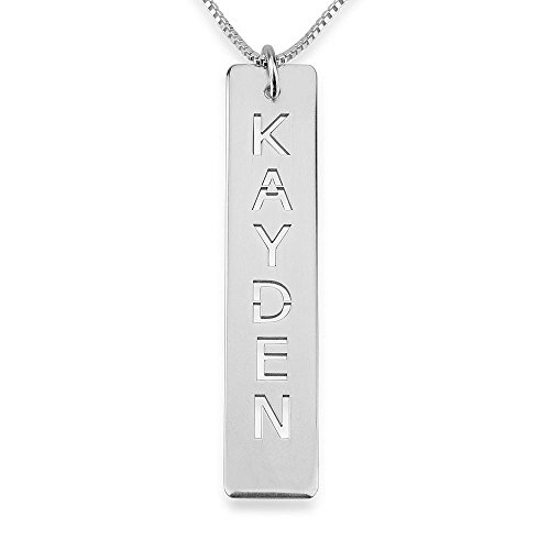 Bar Pendant Necklace - Vertical Custom Sterling Silver Bar Necklace