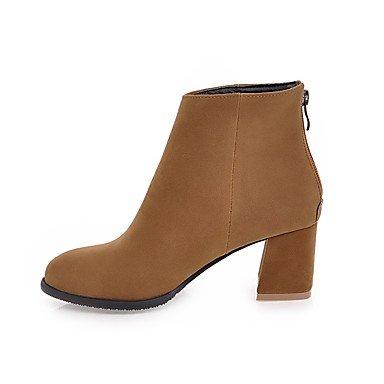 Women's Boots Fashion Boots Fall Winter Leatherette Casual Dress Zipper Chunky Heel Yellow Gray Beige Black 2in-2 3/4in Grey UEtmg
