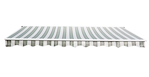 Sunjoy 14'x 10'Marquise Half-Cassette Motorized Retractable Awning, Green Stripe