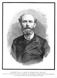Grabado antiguo (1886) - Xilografía - Retratos.- Excmo. Sr. D. José Casado Del Alisal (15x18), Desconocido