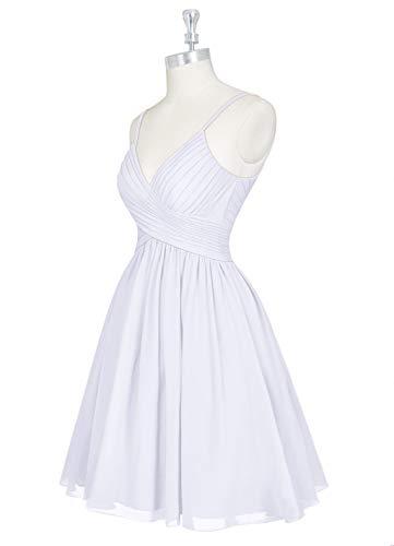 ASBridal Short Bridesmaid Dresses with Pockets Chiffon Prom Party Dress V Neck Pleated Bridesmaid Dress Sleeveless