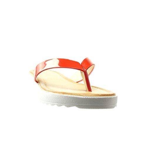 Angkorly - Chaussure Mode Sandale Tong salomés femme brillant Talon plat 2 CM - Rouge