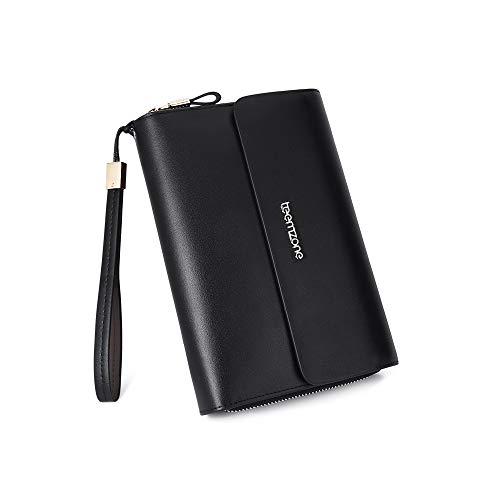 Men's Genuine Leather Zipper Wallet Handbag Organizer Checkbook Purse (Black) (Logo Clutch Purse)