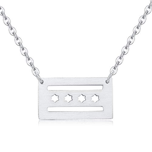 - Rosa Vila Chicago Flag Pendant Necklace, Illinois State Necklace, Minimalist Chicago Gift for Women, Ideal As Chicago Gifts, Chicago Cubs Jewelry, and Minimalist Jewelry for Women (Silver Tone)