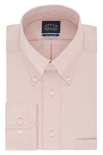 (Eagle Men's Non Iron Stretch Collar Regular Fit Solid Dress Shirt, Cantaloupe, 16.5