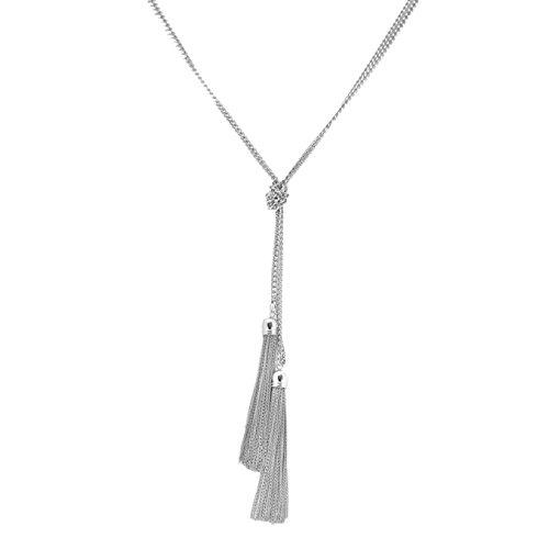 Plaqué D'argent de mode haute Nœud avec extrémité Tassel Collier plastron