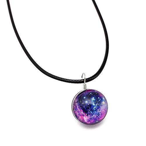 SPORTTIN Retro Galaxy Glass Ball Pendant Braided Leather Black Necklace Fashion Star Universe Choker(Colorful,E)