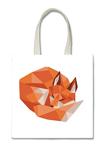 Polygon Orange Fox Design Halloween Trick Or Treat Polyester White Tote Bag 15x16x -