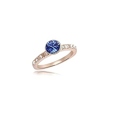 81633dc18 MT Products rose Gold Plated Ring With Swarovski Element Crystal Free  Delivery New Sapphire-Blue, Size 54 mm: Amazon.co.uk: Jewellery