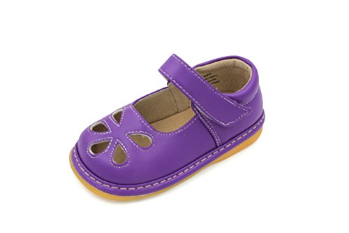 Toddler Shoes | Squeaky Purple Flower Punch Mary Jane Toddler Girl Shoes (9)