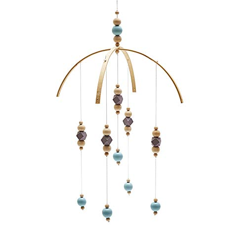 (Absolutely Perfect Baby Bed for Baby Wooden Hanging Ornaments for Cribs Bell Decorative Toys Kids Decor Craft Pendant Musical Mobile with Hanging Grey&Blue 14.96 22.40 in)