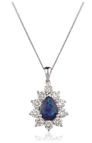 2.36CT Certified G/VS2 Blue Sapphire Pear Shape Centre Round Brilliant Cut Claw Set Diamond Pendant in 18K White Gold