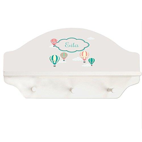 Personalized Hot Air Balloon White Three Peg Shelf