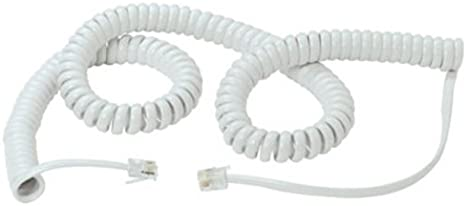 2M Coiled Telephone Handset Cable RJ10 Phone Lead Extension Curly Spring Cord