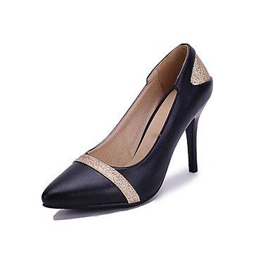 Talones de las mujeres Zapatos Primavera Verano Otoño Invierno club de cuero para oficina y del partido de la carrera y del vestido de noche de lentejuelas de tacón de aguja Negro Rosa Blanco Pink