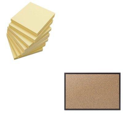 KITQRT2303BUNV35668 - Value Kit - Quartet Cork Bulletin Board with Black Aluminum Frame (QRT2303B) and Universal Standard Self-Stick Notes (UNV35668) by Quartet (Image #1)