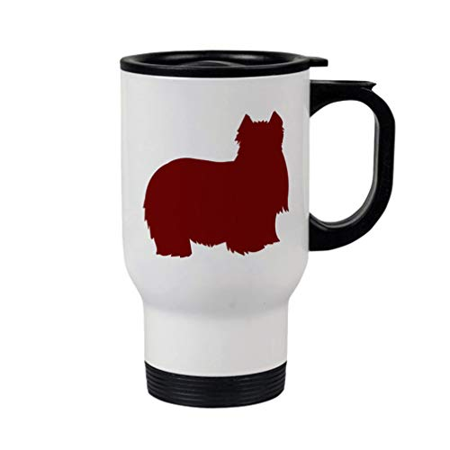 Style In Print Maroon Yorkshire Terrier Silhouette Steel Travel Mug - White