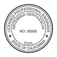 CALIFORNIA PROFESSIONAL ENGINEER SUPPLIES CUSTOMIZED PERSONALIZED SEAL STAMP