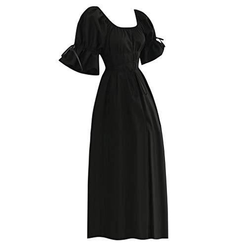 (Women's Vintage Medieval Dress,Short Petal Sleeve Scoop Neck Bandage Cosplay Long Dresses (L, Black))