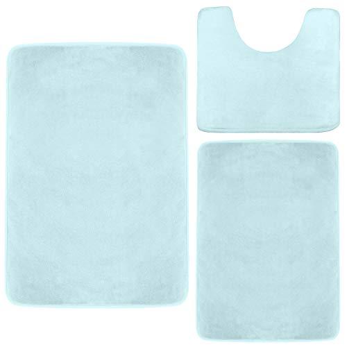 Clara Clark Memory Foam Bath Mat, Ultra Soft Non Slip and Absorbent Bathroom Rug. - Aqua Light Blue, Set of 3 - Small/Large/Contour
