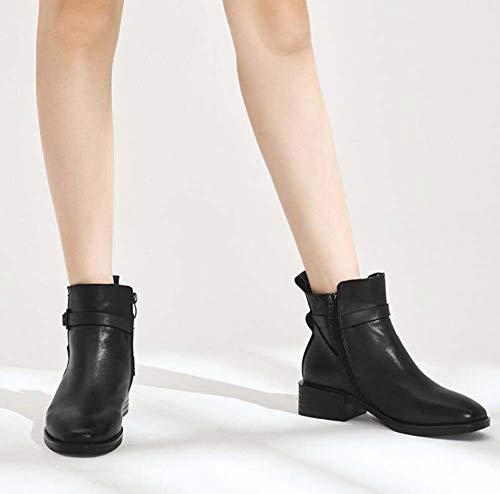 Black Tamaño Cuadradas Mujeres Cremallera Martin Ol Vestido Corte Toe 35 Cinturón Hebilla Casual Botín Ue Zapatos Tacón Bajo Tobillo Bota 40 Rqwpq