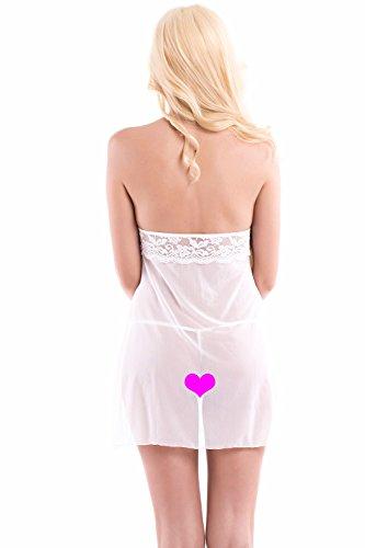 Aivelays Mujer Vestido Pijama Corto Encaje Lencería Set White