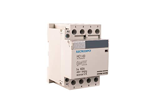 Electrodepot 60 Amp 4 Pole Normally Open IEC 400V Contactor (Silent Operation) - 110-120VAC Coil, Inductive 40A, Resistive 60A with Mounting Base for DIN Rail