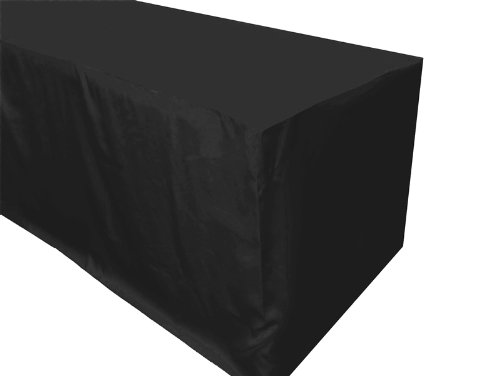 URBY 6 ft Fitted Polyester Tablecloth Black