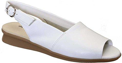 David Tate Womens Norma Open Toe Casual Slingback Sandals White Lamb
