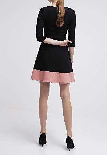 Kleid Stoff Style festlich 3 Rockabilly mit knielang 4 Rosa Field mit leicht Business Jerseykleid Cocktailkleid Rock ausgestelltem im für elegant Schwarz Damen Hochzeit Ärmel aus Anna festem gestreift Zv5wBw