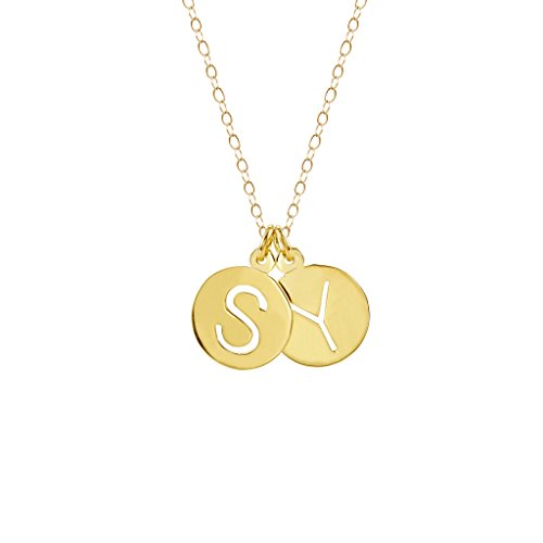 Brook & York Custom Cut Out Two Initial Necklace (16 inch Chain w/ 2 inch ()