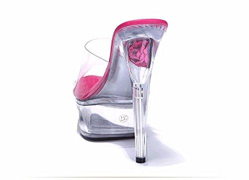 HXVU56546 La Nueva Ultra-Transparentes Cristales Con Las Señoras Sandalias Zapatillas Zapatos Sandalias Pasarela Fino rose Red