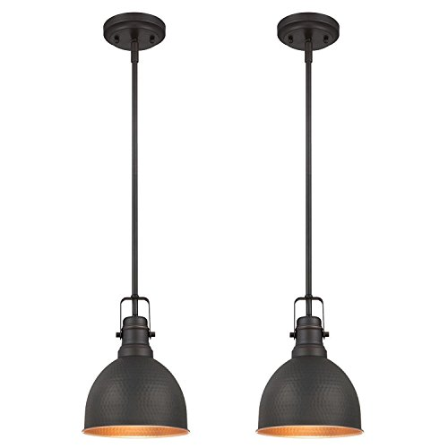 Westinghouse Lighting Westinghouse 6345600 One-Light Mini Pendant Industrial Hammered Oil Rubbed Bronze Finish with Highlights (2 Pack), Piece ()