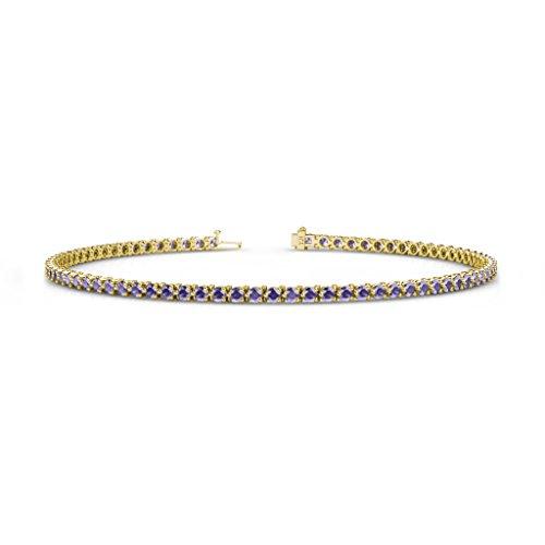 - TriJewels Iolite 2mm 3-Prong Tennis Bracelet 1.32 cttw in 14K Yellow Gold