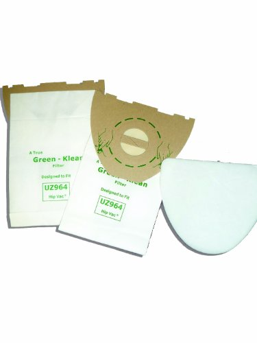 Green Klean® 140655405 Advance UZ 964 Hip Vac Kent Euroclean UZ964 Replacement Vacuum Cleaner Bags Includes 2 Micro Filters Per Pack