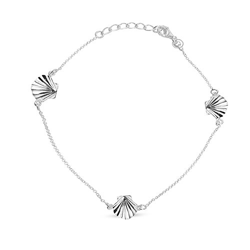 LeCalla Sterling Silver Jewelry Sea Shell Adjustable Anklet for Women